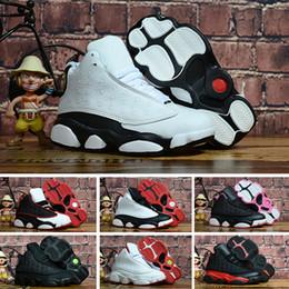 6234be1d68111 Acheter Nike Air Jordan 13 Retro Chaussure De Basket Ball Femme Pas Cher  13s J13 Noir Orange Rouge Terracotta Garçons Filles Jeunes Enfants J13  Jumpman 13 ...