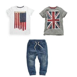 american flag suits Coupons - Kids Designer Brand Clothes Cowboy Children Suits Short Sleeve Round Neck Solid Color American Flag Pattern 61
