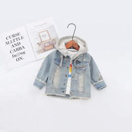 8a352ee87 2019 Spring Baby Infants Kids Children Boys Male Hooded Hole Washed Printed  Letter Denim Jeans Coat Jackets Outwear Casaco S7993