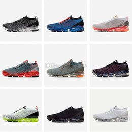 mosca coleção Desconto Nike Air VaporMax Flyknit Fly 3.0 Calçados Esportivos de Alta Qualidade Homens De Malha Das Mulheres Tênis De Corrida COLEÇÃO DE NEON TRIPLO BRANCO Sapatilhas