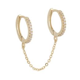 925 ayar gümüş vermeil takı çift piercing muhteşem trendy kadınlar takı 2 daire çember küpe cheap double circle earrings nereden çift daire küpeleri tedarikçiler