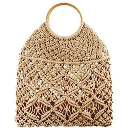 piccole maniglie mini borse Sconti Summer Beach Mini Borse per le donne Vintage Mesh tessuto intrecciato corda di cotone Casual viaggio rotondo maniglia piccola Tote Bag