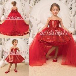 b98dd5144 Vestido de fiesta rojo con lentejuelas para niñas Vestidos de desfile  Faldas desmontables Vestido de niñas con flores Arco alto alto Niño santo  Comunión ...