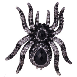 halloween spider rings Coupons - Spider Stretch Ring Scarf Clasp Halloween Party Gothic Jewelry Gifts Charms Women Girls Antique Silver Black Dropshipping