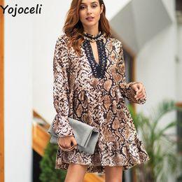 ef164a7edc cute short night dresses Canada - Yojoceli Sexy ruffle snake print short dress  women Autumn party