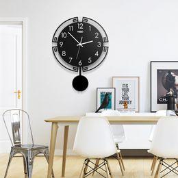 2019 Swingable Grande Relógio de Parede Silencioso 3D Digital Design Moderno Acrílico Horloge Decoração de Casa Relógio de Quartzo Preto Frete Grátis supplier black modern design wall clock de Fornecedores de relógio de parede preto design moderno