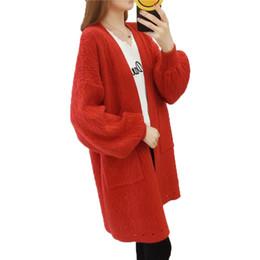 Корейский большой вязаный свитер онлайн-Женщин новый длинный свитер кардиган 2018 осень зима свободные большой размер корейский сплошной цвет толстый женский вязать свитер пальто Lq526