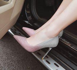 2019 glitter pvc gewebe Großhandel neue sexy Stöckelabsatz Glitter Stoff Spitzschuh-Frauen-Pumpen 100mm Mode-Absatz-Schuhe für Frauen Büro-Kleid-Schuhe rabatt glitter pvc gewebe