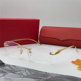 occhiali ottici uomini titanio Sconti Nuovi vetri ottici del progettista di lusso Uomini classici affari Frameless ottico lucido oro Montatura in titanio Occhiali di alta qualità Con scatola