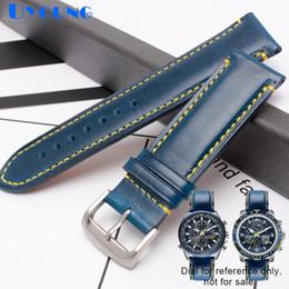 2019 цветные кожаные мужские браслеты Браслет из натуральной кожи 23мм ремешок для часов AT8020 JY8078 мужские часы ремешок синего цвета ремешок из нержавеющей стали с пряжкой дешево цветные кожаные мужские браслеты