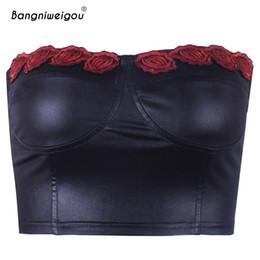tapas de tubo de bandeau al por mayor Rebajas Venta al por mayor Retro Rose bordado negro corsé Bandeau Crop Top 2019 mujeres Slash cuello flaco tubo Tops