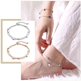 gifts ladies wear Coupons - Elegant Double Heart Charm Chain Anklets for Women Lady Holidays Wear Stainless Steel Gifts for Her Jewelry