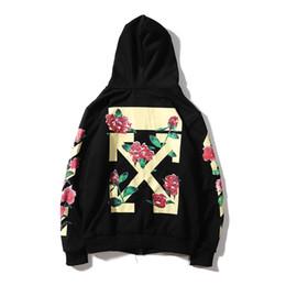 Feminino cardigan algodão flor on-line-Outono Inverno Hoodies Flor Impresso Longo-sleeved Camisolas Casuais das Mulheres Top Vestuário Streetwear Algodão Cardigan Esportes Outwear
