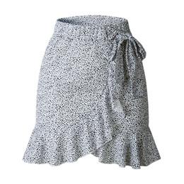 Estilos de corbata de lazo de las señoras online-Leopardo envuelto Falda Mujeres Sexy Casual Flounce Bow Tie vestido estilo del verano Boho Resort Office Lady Ruffles faldas asimétricas