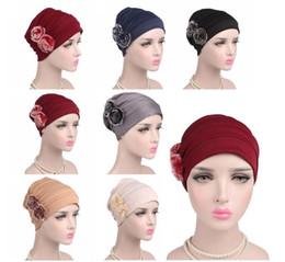 Chapéu islâmico das mulheres on-line-Perda mulheres muçulmanas Bonnet Hat Chemo Cancer Chapéus Cabelo islâmica Turban Lenço Gorros Skullies Ramadan cor sólida Cap Moda