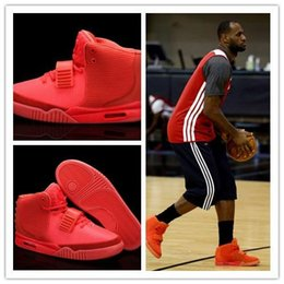 Resplandor oscuro zapatos de baloncesto tamaño online-(Con la caja) de alta calidad Kanye West 2 Octubre Rojo NRG zapatos de baloncesto ROJO ROSA DE OCTUBRE II Men tamaño de las zapatillas de deporte resplandor oscuro 7-13
