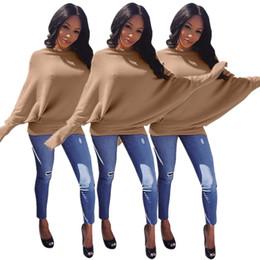 Manteau d'hiver à manches dolman en Ligne-Nouveau hiver femmes chauve-souris à manches longues kaki pulls chandails mode casual T-shirts lâches manteaux top