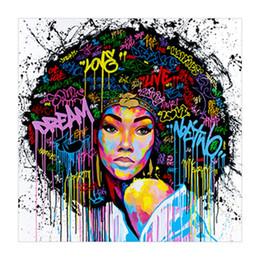 Malerei afrikanisch online-Frauen Ungerahmt Leinwand Druck Wand Dekor Malerei Kunst Leinwand African American Wall Art