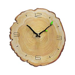 rang clock Promo Codes - Wood Grain Wall Clock Living Room Bedroom Mute Clock Wooden Wall Charts Modern Minimalist Home Annual Ring European Clocks