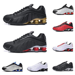 2019 homens, correndo, sapato, shox Shox R4 homens mulheres tênis de corrida de alta qualidade NEYMAR OG triplo preto branco RACER AZUL COMET VERMELHO formadores mens moda tênis esportivos homens, correndo, sapato, shox barato