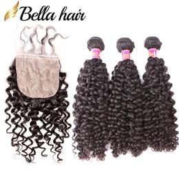 armadura de pelo paquetes de seda base de cierre Rebajas Bella Hair® Curly Wave 3 paquetes con cierre de base de seda 8A Color natural El cabello humano de Malasia teje el cierre Base de seda de cabeza completa