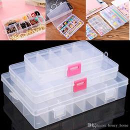Immagazzinaggio degli attrezzi online-10 15 24 Compartments Jewelry Box Adjustable Jewelry Organizer Plastic Storage Container Box DIY Home Room Tools