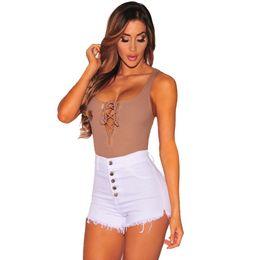 2019 розовые цветы Five colors chose 2019 Women Summer Trendy Hight Rise Bodycon Elastic Button Skinny Denim Curvy Stretch Shorts Jeans Pants 5.22