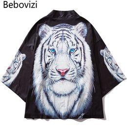 weiße tiger-druckjacke Rabatt Bebovizi Japan Style Schwarz Dünne Kimono Männer Japanische Streetwear Weiß Tiger Printed Robe Jacken 2019 Casual Oberbekleidung