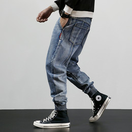 2019 koreanische mode lose jeans Japanische Art-Mode für Männer Jeans Loose Fit Cargohose Harem Jeans Korean Street Spliced Designer Hip Hop Männer Jogger rabatt koreanische mode lose jeans