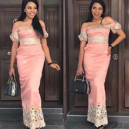 pizzo moda nigeria Sconti 2019 Aso Ebi Prom Dresses a sirena in Nigeria con spalle in pizzo Appliques maniche lunghe Saudi increspato Fashion Party Celebrity Evening Dress
