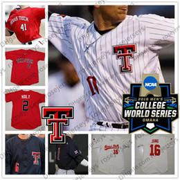Красный номер трикотажные изделия бейсбола онлайн-Custom Texas Tech TTU 2019 CWS College Baseball Любое имя номер 16 Джош Юнг 11 Кэмерон Уоррен Красный Белый Черный Кремовый Серый Джерси