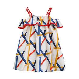 patrones de vestido sin mangas Rebajas Vestido de verano de niña para niños Patrón geométrico Vestidos de honda sueltos impresos Vestido de diseñador para niños Vestido de fiesta con estampado de letras de fiesta de verano