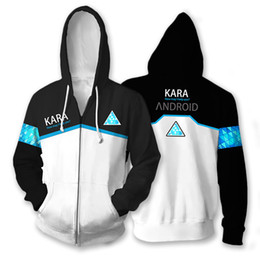 cosplay hoodies zipped Coupons - 3D Printed Hoodie Game Detroit: Become Human RK800 Connor Cosplay Zip Up Hooded Unisex Jacket Sweatshirt Hoody Streatwear Coat