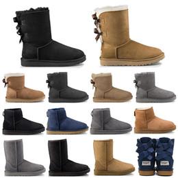 2019 designer mulheres coxa mulheres Hot UGG ugg boots designer de moda mulheres tornozelo inverno Austrália botas de castanha Bailey bowknot mulheres trabalho de neve sobre o joelho coxa alta bota de pele designer mulheres coxa mulheres barato