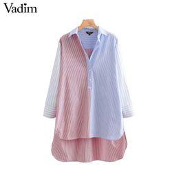 Argentina Vadim mujer rayas blusa larga suelta lado asimétrico dividida camisas de manga larga femenina informal de gran tamaño elegante tops blusas LA768 cheap split side blouse Suministro
