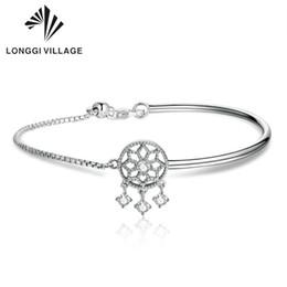 sterling silber kreis link armband Rabatt Beste Qualität 100% 925 Sterling Silber Traumfänger Runde Kreis Kette Armbänder für Frauen