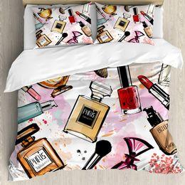 2019 комплект постельного белья из египетского хлопка Мода люкс 3d косметика постельное белье королева размер пододеяльник кровать ткань из микрофибры