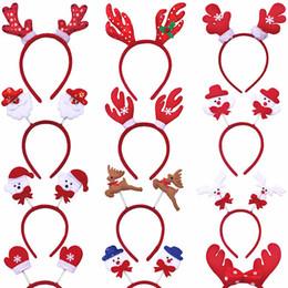 Fascette a fascia online-Carino Tema Natale fascia della Santa / pupazzo di neve / Cervo / Bear / guanto / Horn non tessuto bambini testa Chiusura regalo di natale della decorazione della casa