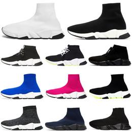 2019 uomini moda scarpe bianche Designer Sock Shoes Speed Trainer Uomo Donna Stivali Triple Nero Bianco Rosso Blu Scarpe da corsa Calzino Race Runners Scarpe sportive di lusso 36-45 uomini moda scarpe bianche economici