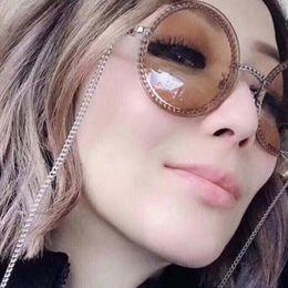 óculos redondos Desconto 2019 Novo Designer de Óculos De Sol C Para As Mulheres de Metal Forma de Cadeia Rodada Quadro de Moda Da Marca do Mesmo Modelo 7 Cores