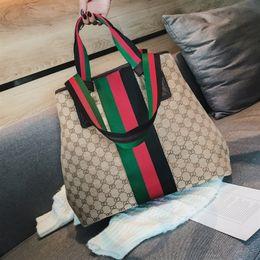 2019 bolsas de cor branca Mochila da mulher Grande Maré Lona Impressão bolsa de Lazer Personalidade Fita Colorida Pacote de ombro Único