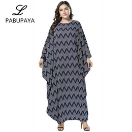 233f2632c9 Large Size Women s Bat Sleeves Loose Long-sleeved Wave Print Dress Muslims  Robes Long Skirt Ladies Party Gown Nightwear Daily Casual Robe