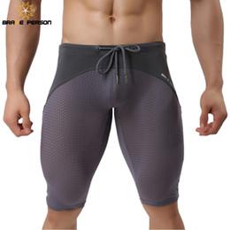 Swimwear coraggioso persona online-BRAVE PERSON Costumi da bagno in tessuto da uomo Shorts da passeggio in mesh traspirante aderente da spiaggia con pantaloncini sportivi da uomo