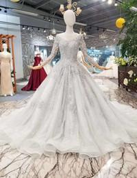 2019 corsé de porcelana por encargo MAGGIEISAMAZING Joya al por mayor de nuevo con cordones gruesos con cuentas hermosos Vestidos de novia con manga larga