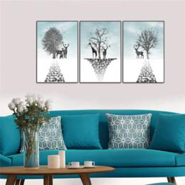 Esboços de fotos on-line-3 PCS Emoldurado Arte Da Parede Esboço Cervos Animails Árvore Arte Da Parede Fotos para Sala de estar Decoração Cartazes e Impressões Pintura Da Lona