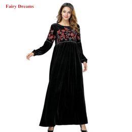 7616f1d0ee4aac dubai maxi kleid Rabatt Samt Muslim Kleid Schwarz Abayas Dubai Blumen  Stickerei Frauen Maxi Kleider Langarm