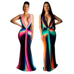 Kadın Çizgili Mermaid Maxi Elbise Baskılı Derin V Yaka Tie Up Yüksek Wasit Akşam Parti Kulübü Uzun Elbiseler 2 renk nereden