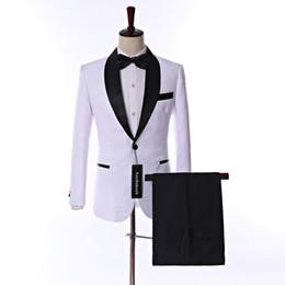 Deutschland One Button White Paisley Bräutigam Smoking Schal Revers Cotton Bend Herren Prom Dress Blazer Business Anzüge (Jacke + Hose + Krawatte) W: 718 cheap mens white prom jackets Versorgung