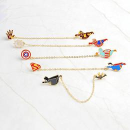 pin di supereroi Sconti Creativo americano Supereroe Superman Iron Man Capitano spille spille Designer spille Moda Lega di amore Mens Charms gioielli in costume Pin