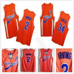 # 2 Uncle Drew Kostüm Kyrie Irving Jersey Harlem Eimer Film Film orange Mens genähtes Shaquille # 34 O Neal Basketball Jerseys ONEA Shirts